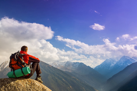 climbing: Hike and adventure at the mountain of success man