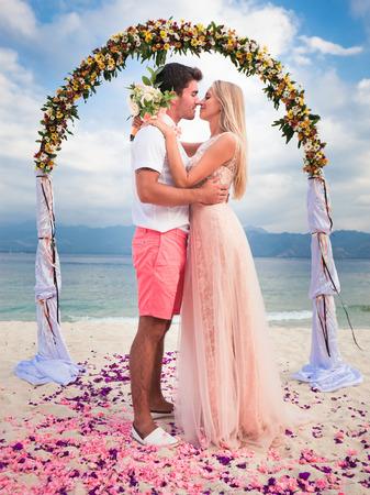 wedding couple: wedding couple just married near the beach at Gili meno