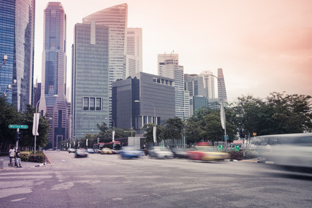 Cityscape of Singapore, no traffic on the road