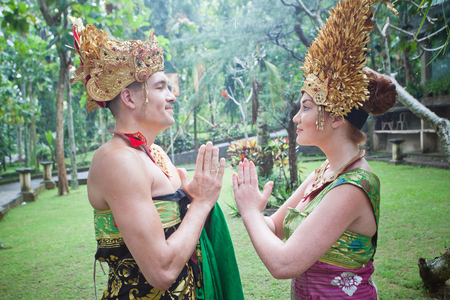 indian culture tradition: couple at honeymoon in Balinese tradition and ceremony