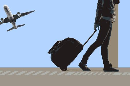 airport people: Woman carries your luggage at the airport terminal, and plane flying at the background