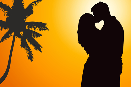 Lovers couple at background with heart shape photo