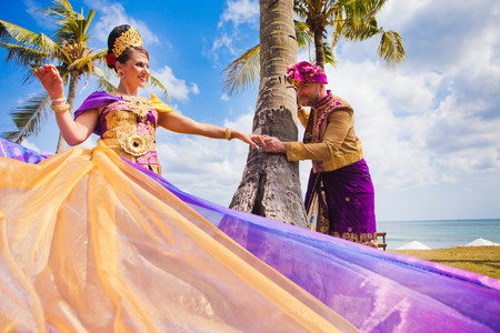 balinese: Wedding ceremony of mature couple dressed in Balinese costume