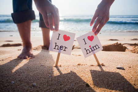 love declaration: Declaration love concept at the beach with blue sea background Stock Photo