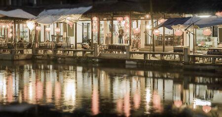 zhouzhuang: Chinese hotel and restaurant at Zhouzhuang at the night. China