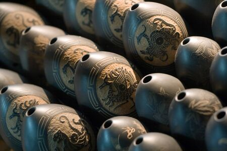 horse pipes: A lot of Chinese Xun – Tibet's ocarina musical instrument. Chinese culture.
