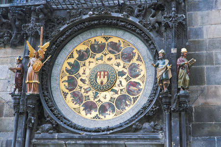 statuettes: The image of the famous clock in Prague, which show the statuettes. Stock Photo