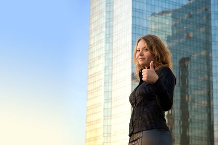 Successful businesswomen. She is smile and happy. Her career or business is flourishing Stock Photo