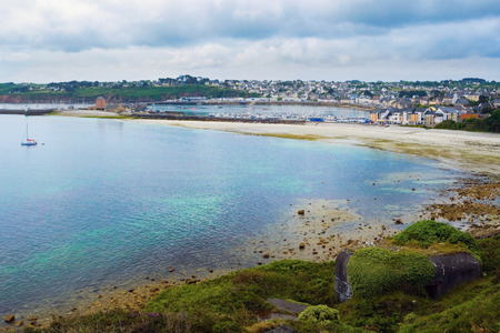 bretagne: Image of port of Camaret sur mer with many hotels on the beach in Bretagne, Finistere, France. Stock Photo