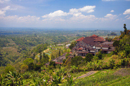 hotel indonesia: Image of an abandoned old hotel on a hillside overlooking the many rice fields. Bali. Indonesia.