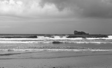 bretagne: Black and white image of stormy day on the sea. There are rocky island in Bretagne, Finistere, France.