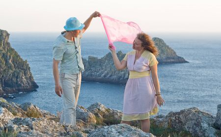 bretagne: Happy couple at honeymoon in Bretagne, France Stock Photo