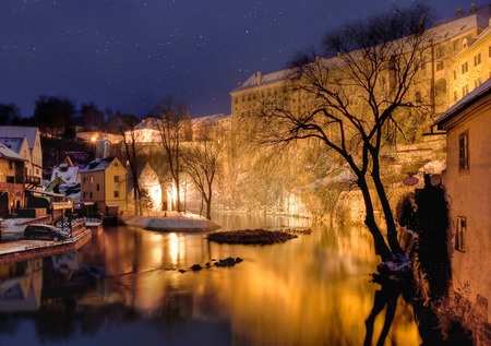 night before christmas: Cesky krumlov at winter, night before christmas. Czech republic. Beautifull view at river and starry sky.