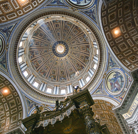 italian architecture: Picture of the inside of the dome of the Vatican with the reflection of the beam.