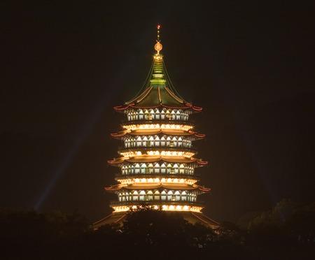 tele: Tele long exposure image of pagoda at night in Hangzhou, Xihu Lake, China, Asia