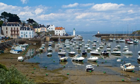 bretagne: Image of port of Sauzon at island Belle-Ile-en-Mer with many boats in Bretagne, France.