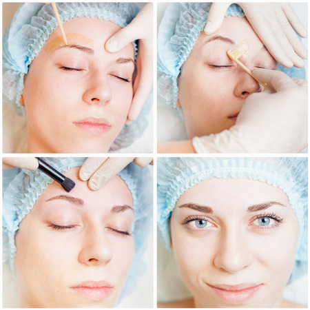 threading: Collage of several photos for beauty and medical treatment