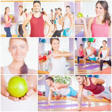 pilates man: Collage with several photos of happy group of people doing sports - fitness, exercise, pilates, gym, stretching. Any sports activities improve your beautiful, healthy body, and make character! Healthy lifestyle concept