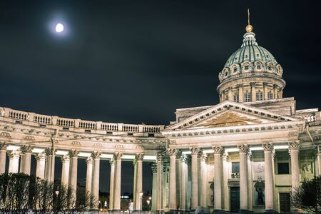 kazanskiy: Kazan Cathedral or Kazanskiy Kafedralniy Sobor, landmark of St. Petersburg, night. Cathedral of Our Lady of Kazan, is a cathedral of the Russian Orthodox Church on the Nevsky Prospekt