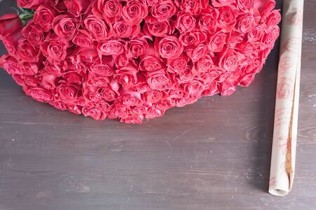 red rose: Big bouquet of red roses. One hundred and one dutch rose. Florist flower shop. Holland. Wrapping paper. Concept holiday, birthday, World Womens Day, Valentines Day, 8 March Stock Photo