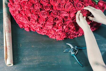 mujer con rosas: Mujer floristería prepara un gran ramo de rosas rojas. Ciento uno rosa holandés. floristería floristería. Holanda. Papel de regalo. el concepto de vacaciones, cumpleaños, Día Mundial de la Mujer, Día de San Valentín 8 de marzo Foto de archivo