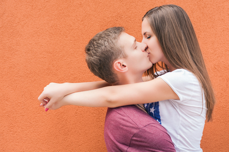 kissing: Happy Valentines Day couple kissing, 14th February celebration, Valentine. Love concept. Copy space background