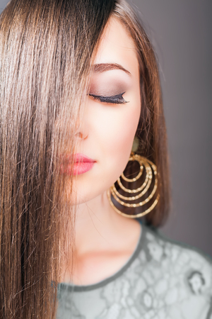 dyed hair: Attractive woman with long beautiful hair dyed hair color. Shampoo. Healthy. Hairstyle