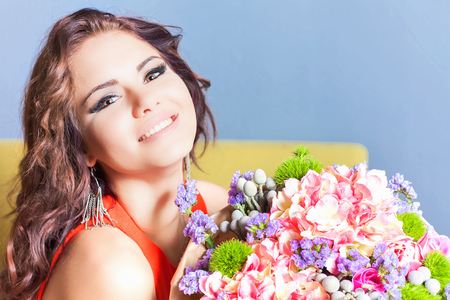 lady s: World Womens Day. Beautiful happy woman received a flower bouquet of roses. Boyfriend gave flowers. Valentines Day, 8 March