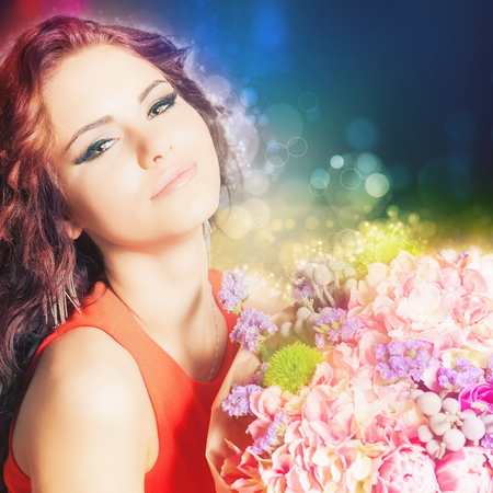 womens day: World Womens Day. Beautiful happy woman received a flower bouquet of roses.
