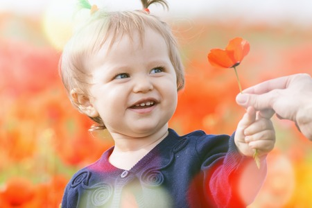 hapy: Children - flowers of life. Funny child holding a flower at outdoor at poppy field. Baby girl. Spring. ?hildrens Day celebrating on first June, 1 or 14 November