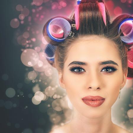 babes: Beautiful girl with make-up and hairstyle. Fashion. Smokey eyes