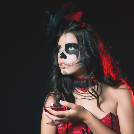 babes: Halloween party 2016! Beautiful woman like witch holding cocktail of blood. Halloween costumes and makeup. Witch carnival costume. Night with big full moon