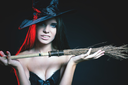 haloween: Fashion girls celebrating Halloween 2016. Haloween costumes. Masquerade party Stock Photo