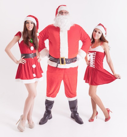 babes: Big Santa with a hot girls. Santa girlfriend. Sexy babes. Christmas party 2016. Celebrating New Year 2017. Costumes