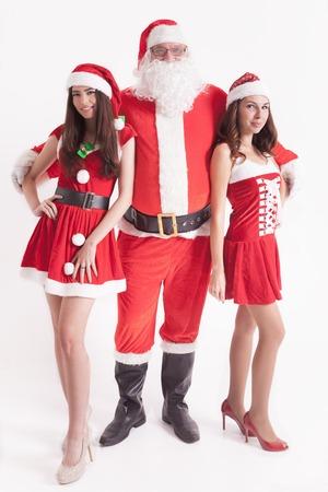 Big Santa with a hot girls. Santa girlfriend. Sexy babes. Christmas party 2016. Celebrating New Year 2017. Costumes