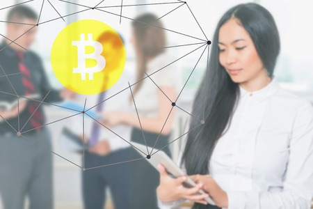 Successfully asian people trading, Blockchain with Bitcoin cryptocurrency, Korean market