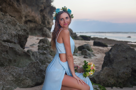 Beautiful bride married at the beach, Bali. Wedding ceremony
