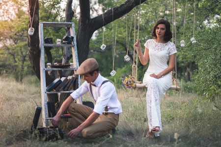 Young Couple Have Got Their Marriage In Rustic Style In Apple Orchard Stok Fotoğraf