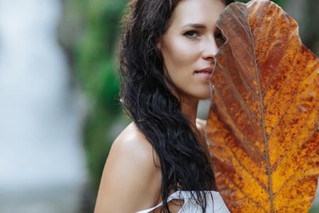Sexy girl traveling at Bali, Ubud near big waterfall
