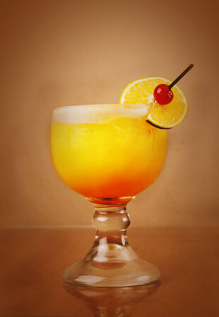 alcohol screwdriver: yellow summer drink Stock Photo