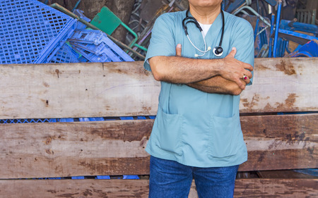 without people: Foreigner doctor fighting ebola en africa Stock Photo