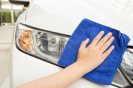 microfiber cloth: Concept of Cleaning car using microfiber cloth