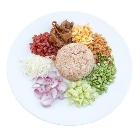 cow pea: Rice Mixed with Shrimp paste Kao Cluk Ka Pi on white background, Thai food.