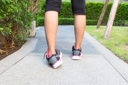 sprained joint: Ankle sprain while jogging or running concept