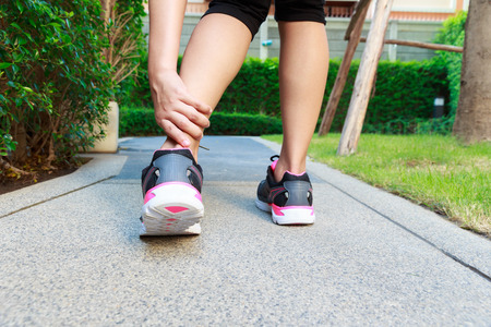 sprain: Ankle sprain while jogging or running concept