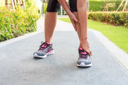 sprain: Ankle sprain while jogging or running.