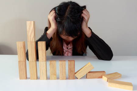 simulate: Stressed businesswoman with simulate stock market took a nosedive.