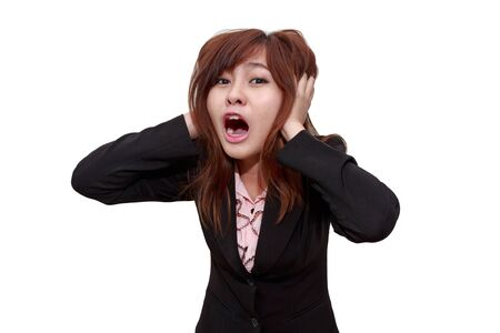 agape: Stressed businesswoman shocked or screaming whlie holdding her head - Business concept