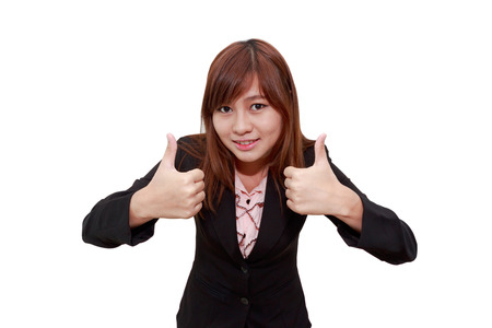 thumps up: Smiling businesswoman holding thumps up isolated on white background