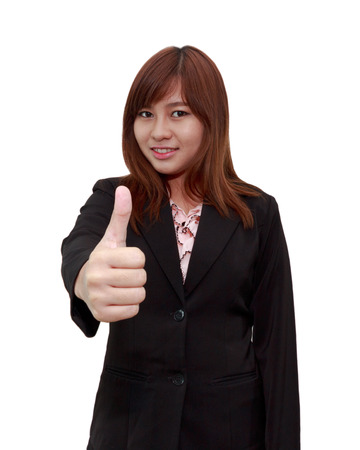 thumps up: Smiling businesswoman holding thumps up isolated on white background - feel good business concept.
